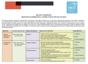 Quality Checklist: Questions for designing and delivering online courses.