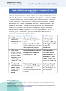 Sample Guidelines for Agreeing Netiquette For Engagement in Online