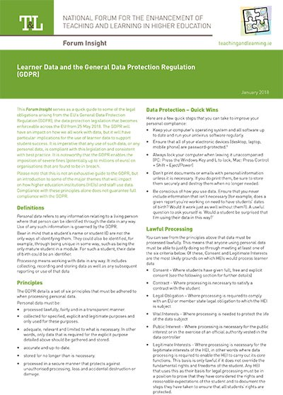 Learner Data and the General Data Protection Regulation (GDPR)