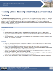 Teaching Online: Balancing Synchronous & Asynchronous Teaching