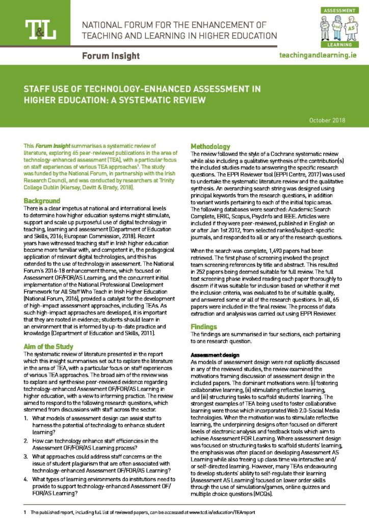 Staff Use of Technology-Enhanced Assessment in Higher Education: A Systematic Review