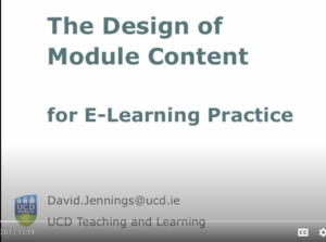 The Design of Module Content for e-learning practice