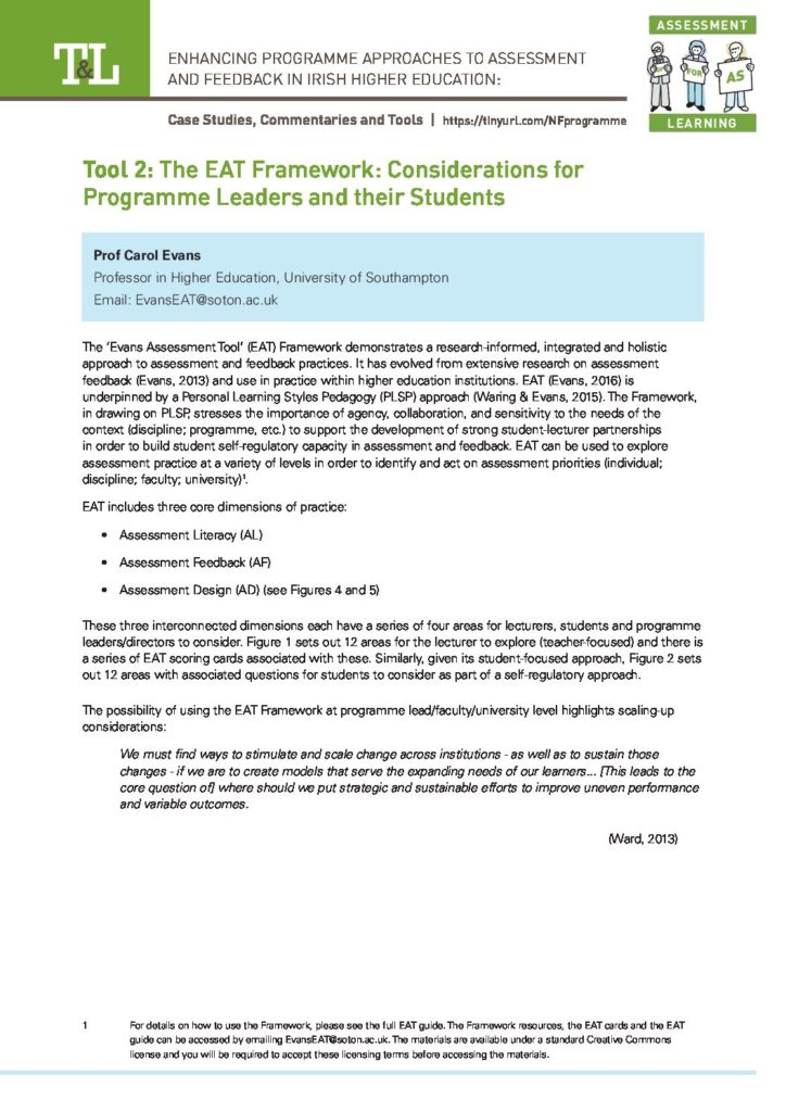 The EAT Framework: Considerations for Programme Leaders and their Students