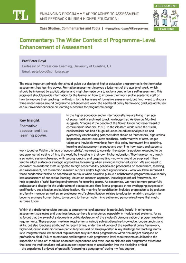 The Wider Context of Programme-Level Enhancement of Assessment
