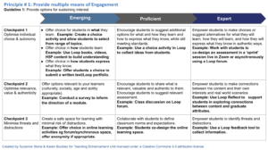 UDL progression style check list for toolkit