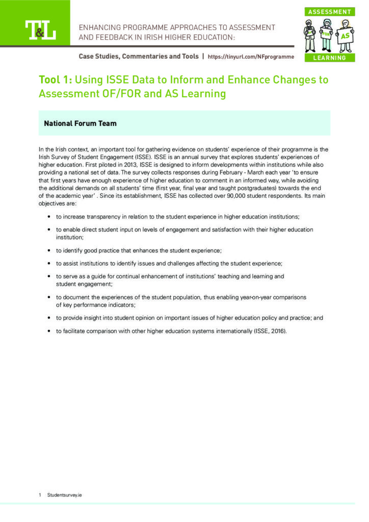 Using ISSE Data to Inform and Enhance Changes to Assessment OF/FOR and AS Learning