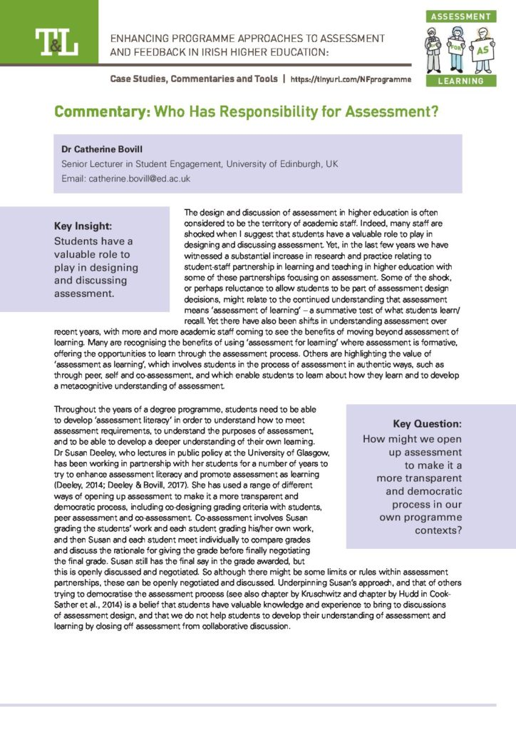 Who Has Responsibility for Assessment?